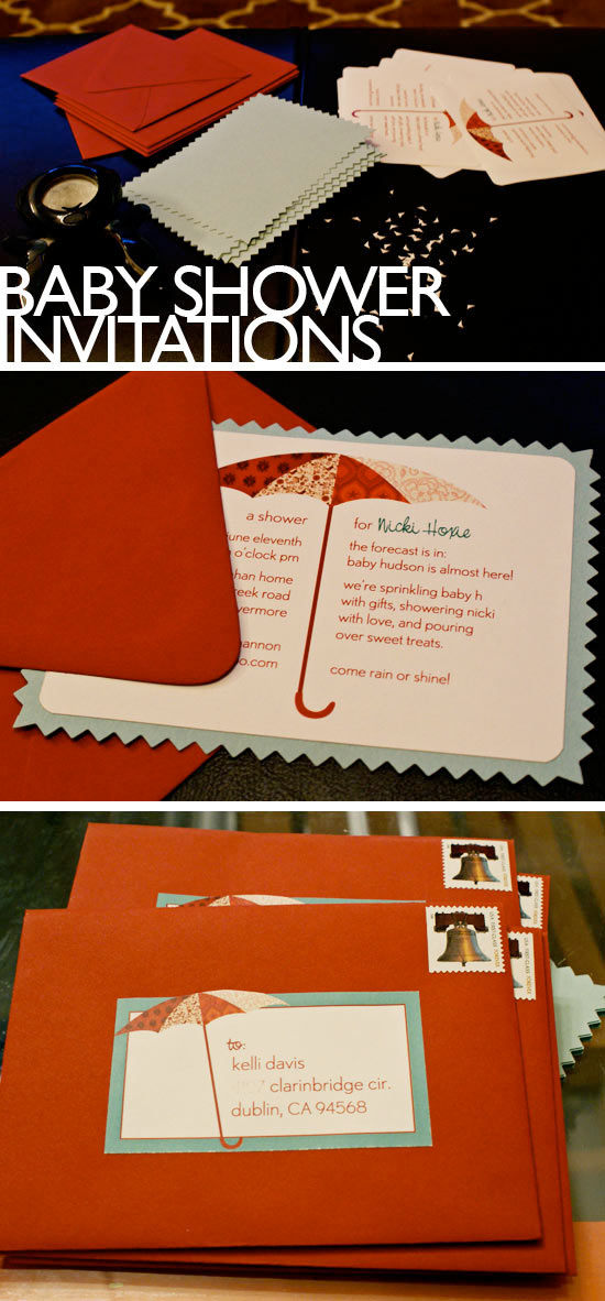 Red and Cyan Baby Shower Invitations